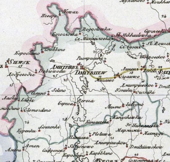 Карта Дмитриевского уезда 1821 год