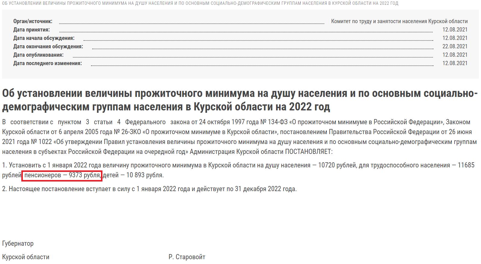 Постановление об установлении прожиточного минимума в Курске на 2022 год.
